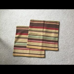 Pair of Pottery Barn striped pillow cases